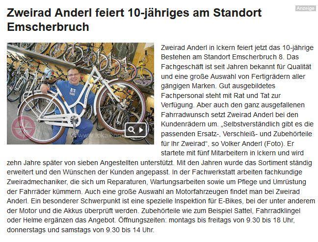 2013 beurteilung durch den stadtanzeiger 22 juli 2rad anderl der e bike und fahrrad. Black Bedroom Furniture Sets. Home Design Ideas